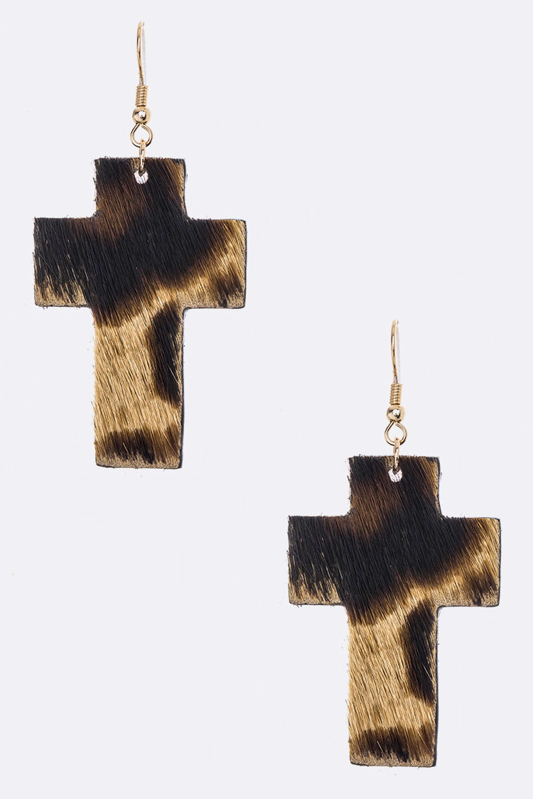 Calf Hair Animal Print Cross Drop Earrings