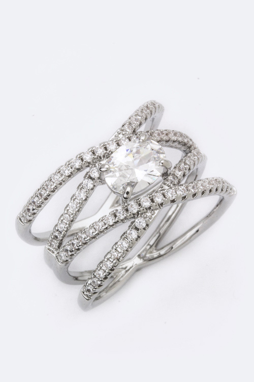 Interlock CZ Size Ring