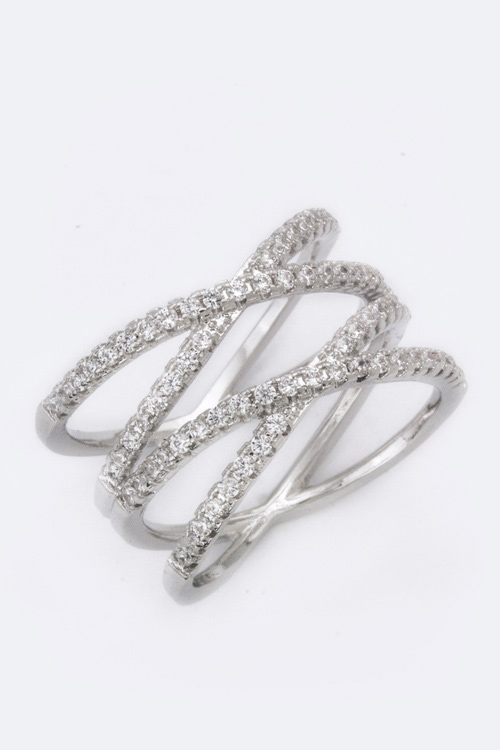 Double Crossed CZ Ring