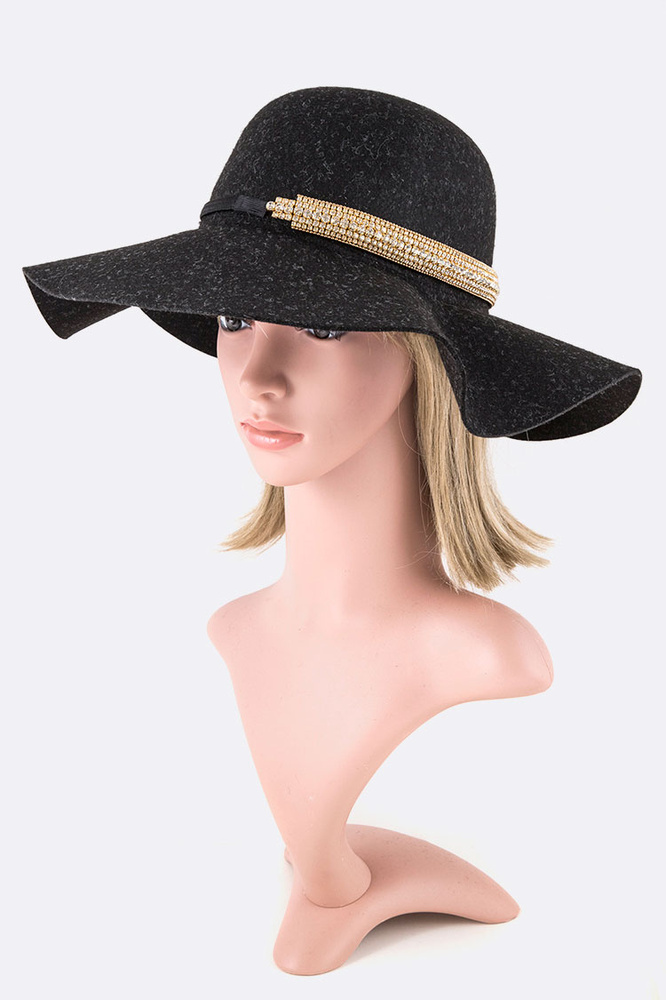 2 In 1 Convertible Rhinestone Accent Floppy Hat Set