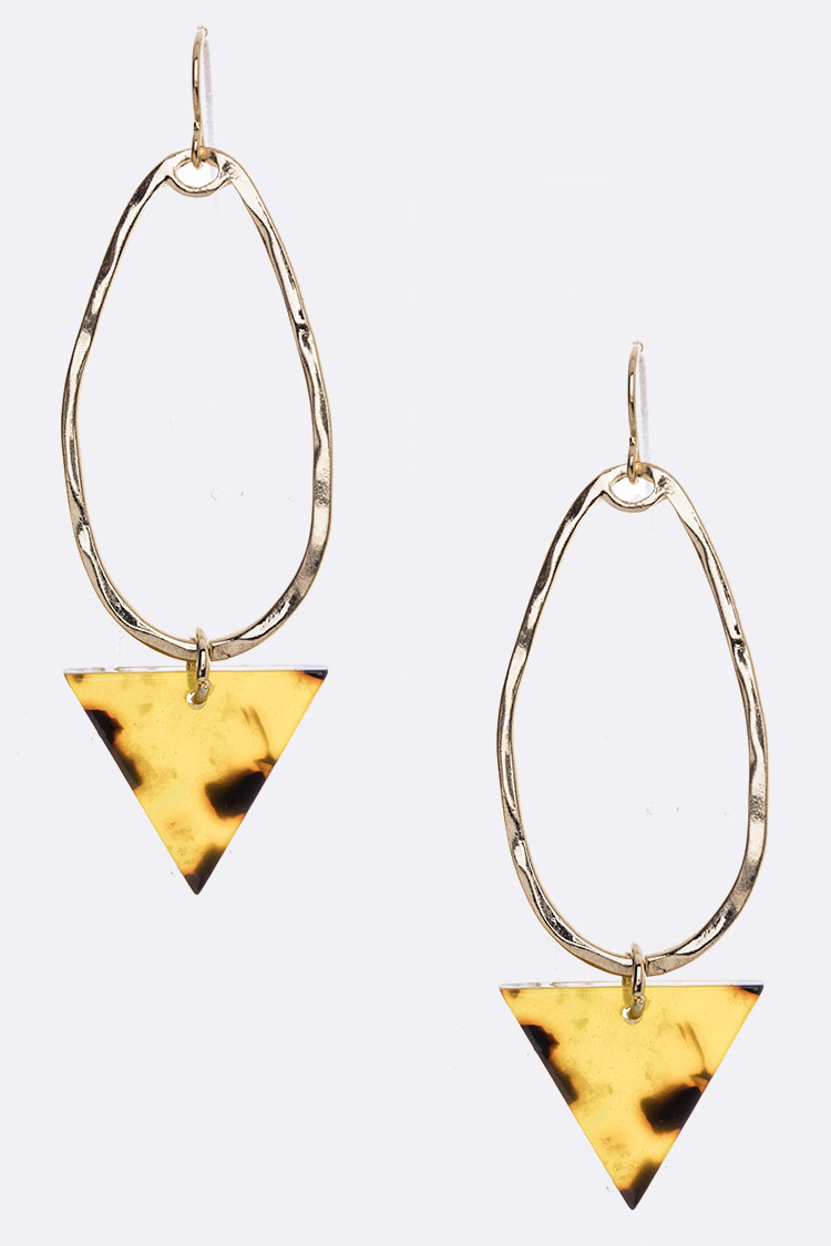 Celluloid Triangle Drop Hoop Earrings