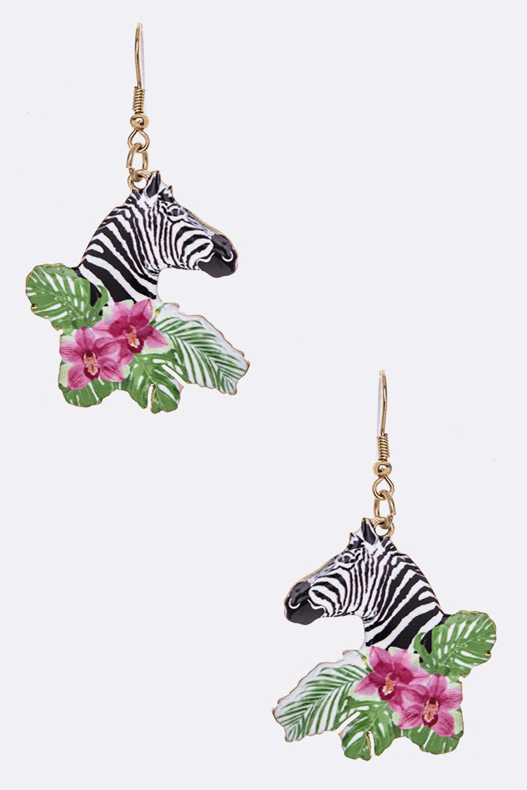 Flower Zebra Print  Iconic Metal Earrings