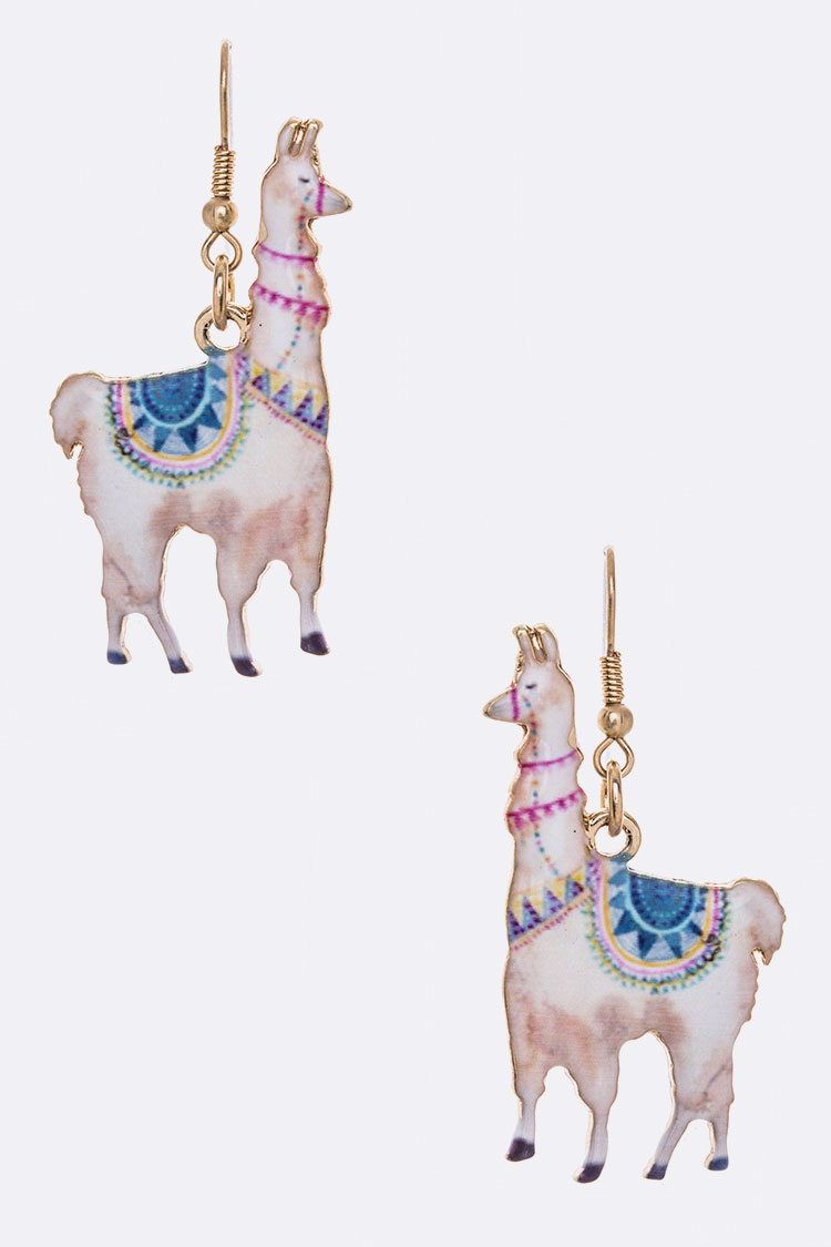 Llama Iconic Print Metal Earrings