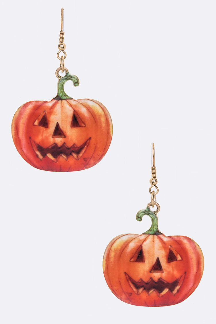 Pumpkin Print  Iconic Metal Earrings