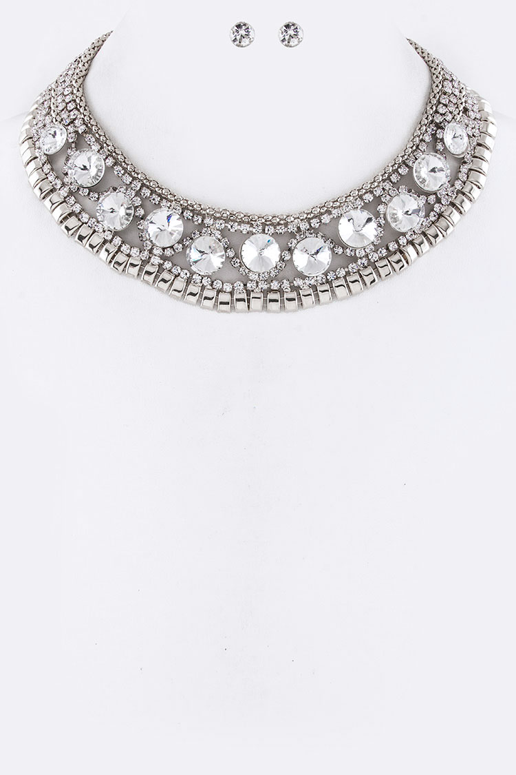 Mix Crystals & Chains Collar Necklace Set
