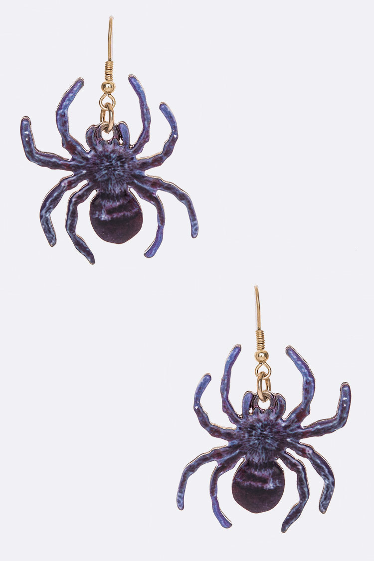 Spider Print  Iconic Metal Earrings