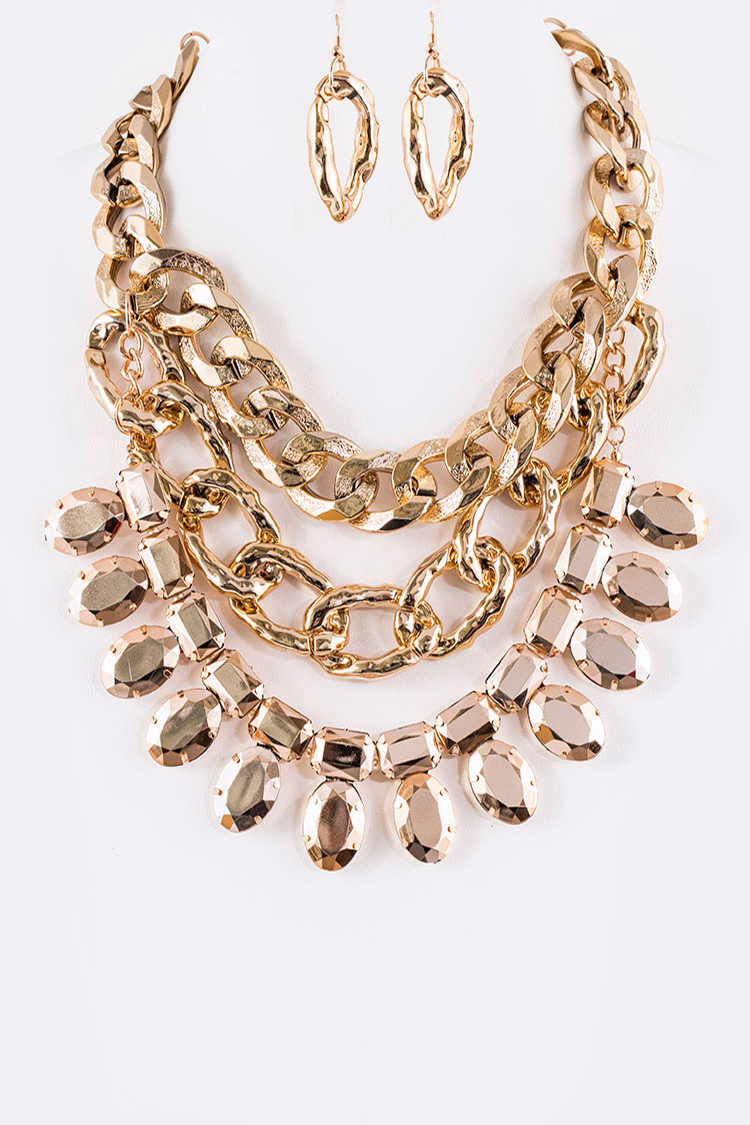 Chunky Chain Layer Statement Necklace Set