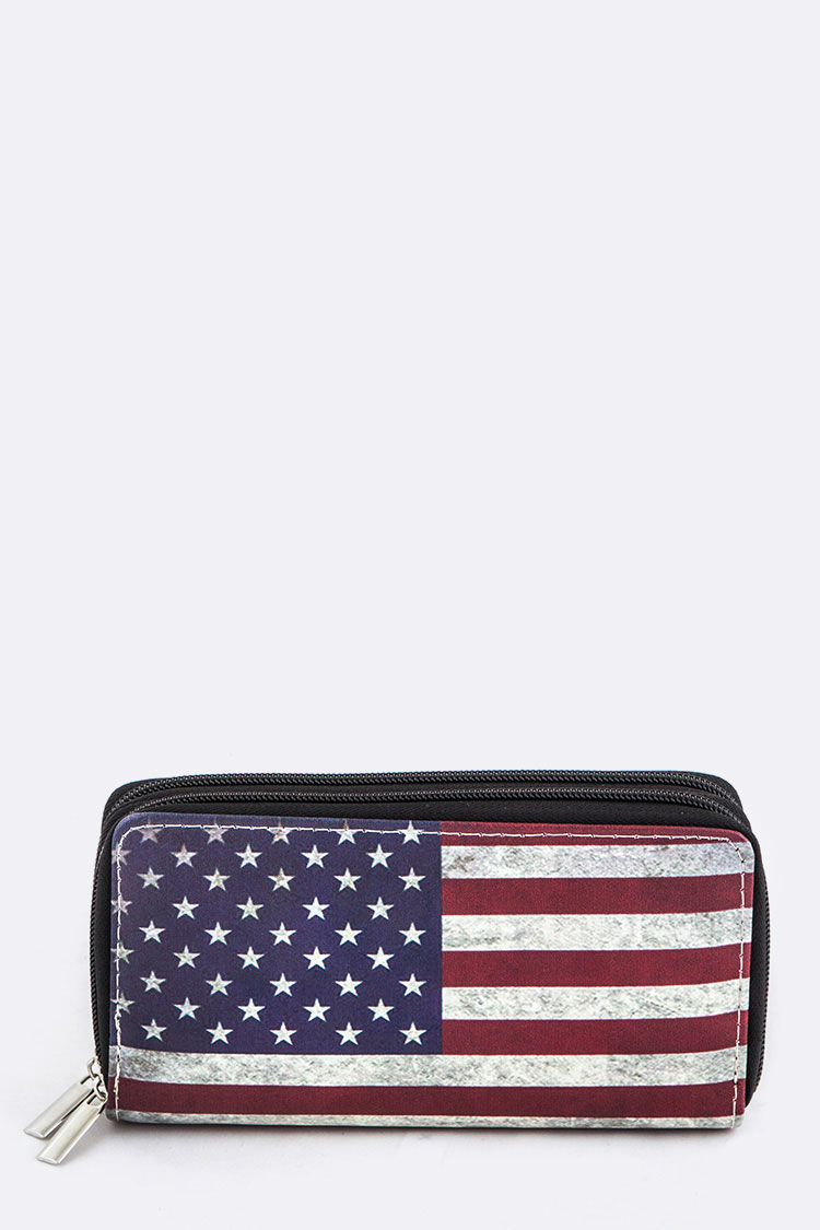 US Flag Print Double Zippers Wallet