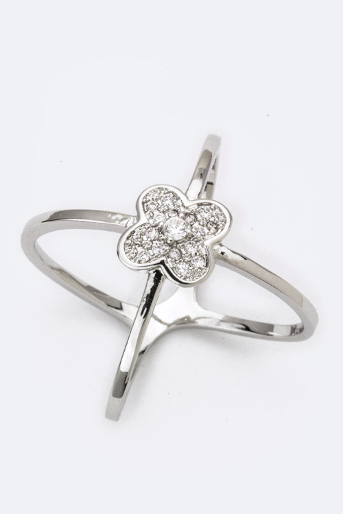 Crossed CZ Clover Ring