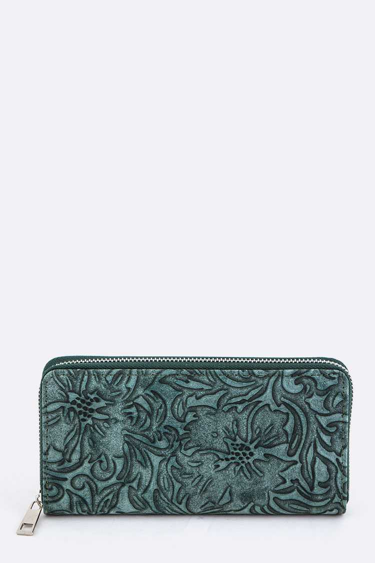 Embossed Leaf Pattern Wallet