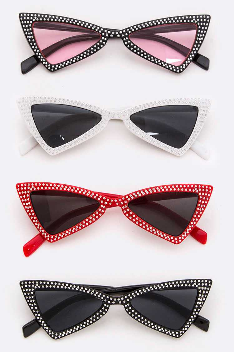 Studded Triangle Cat Eye Sunglasses