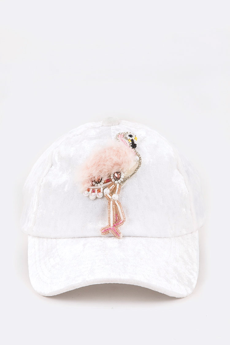 Fur & Beaded Flamingo Distressed Velour Fashion Cap