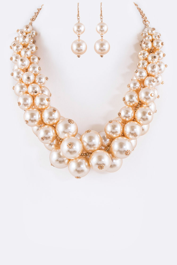 Mix Pearls Statement Necklace Set
