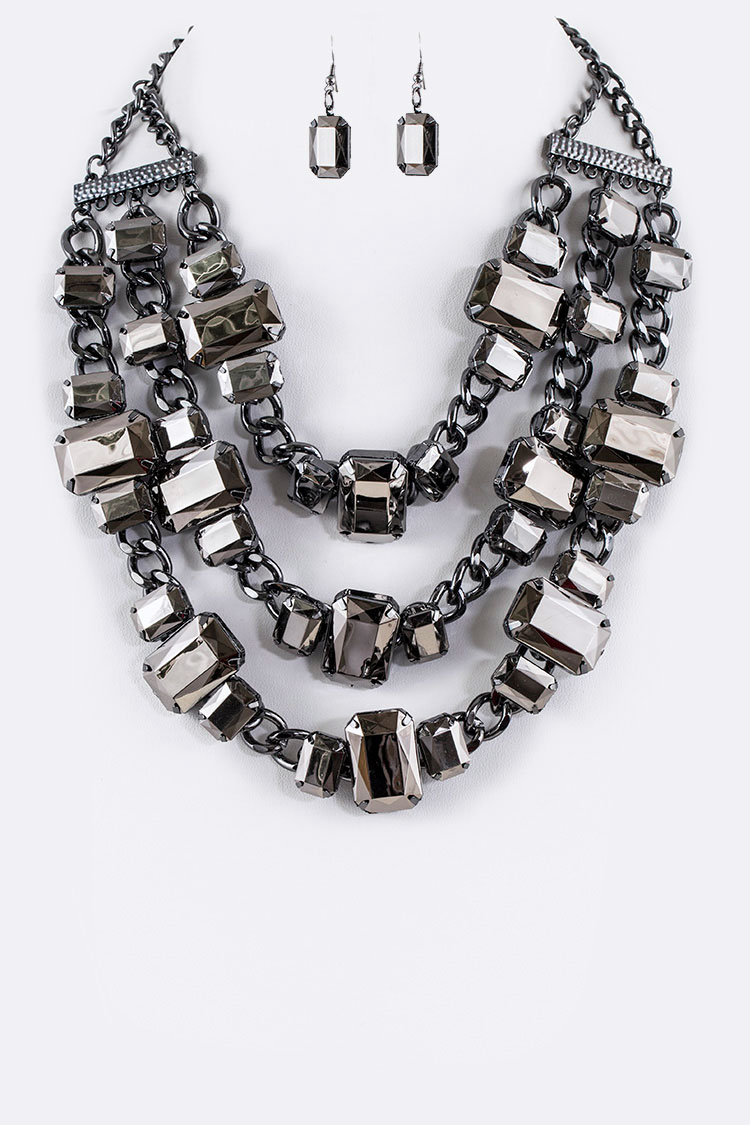Chunky Chain Mix Lucite Statement Necklace Set