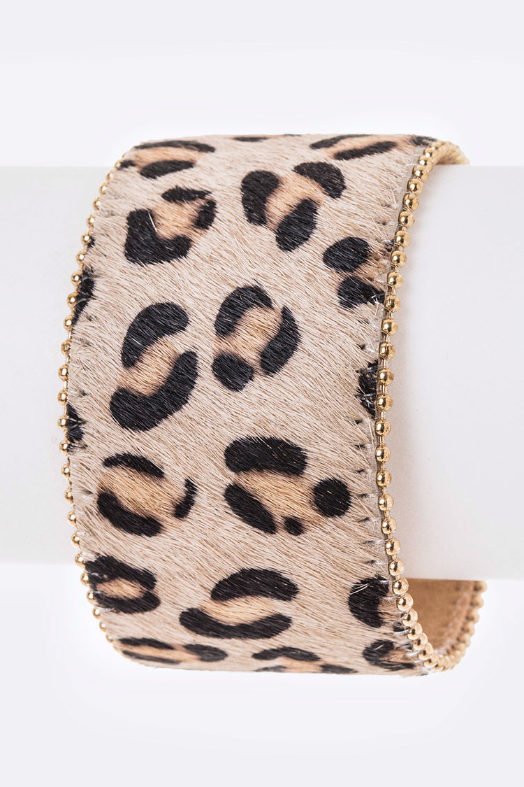 Leopard Printed Iconic Pony Leather Bracelet
