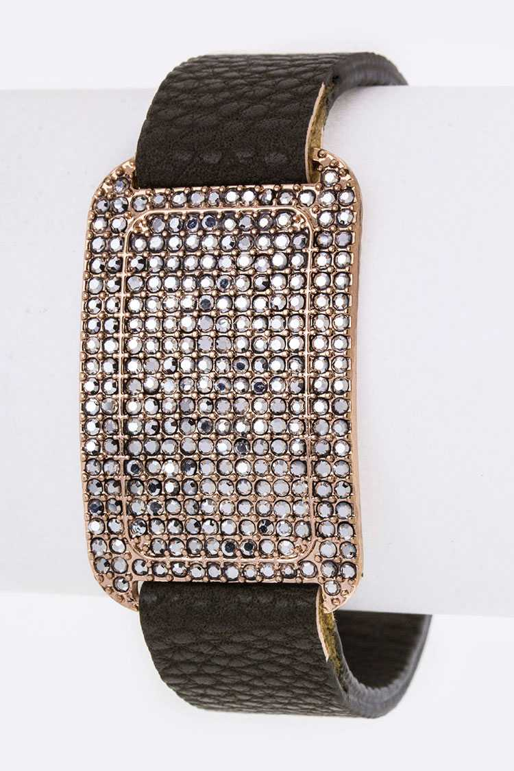 Pave Crystals Tag Leather Cuff