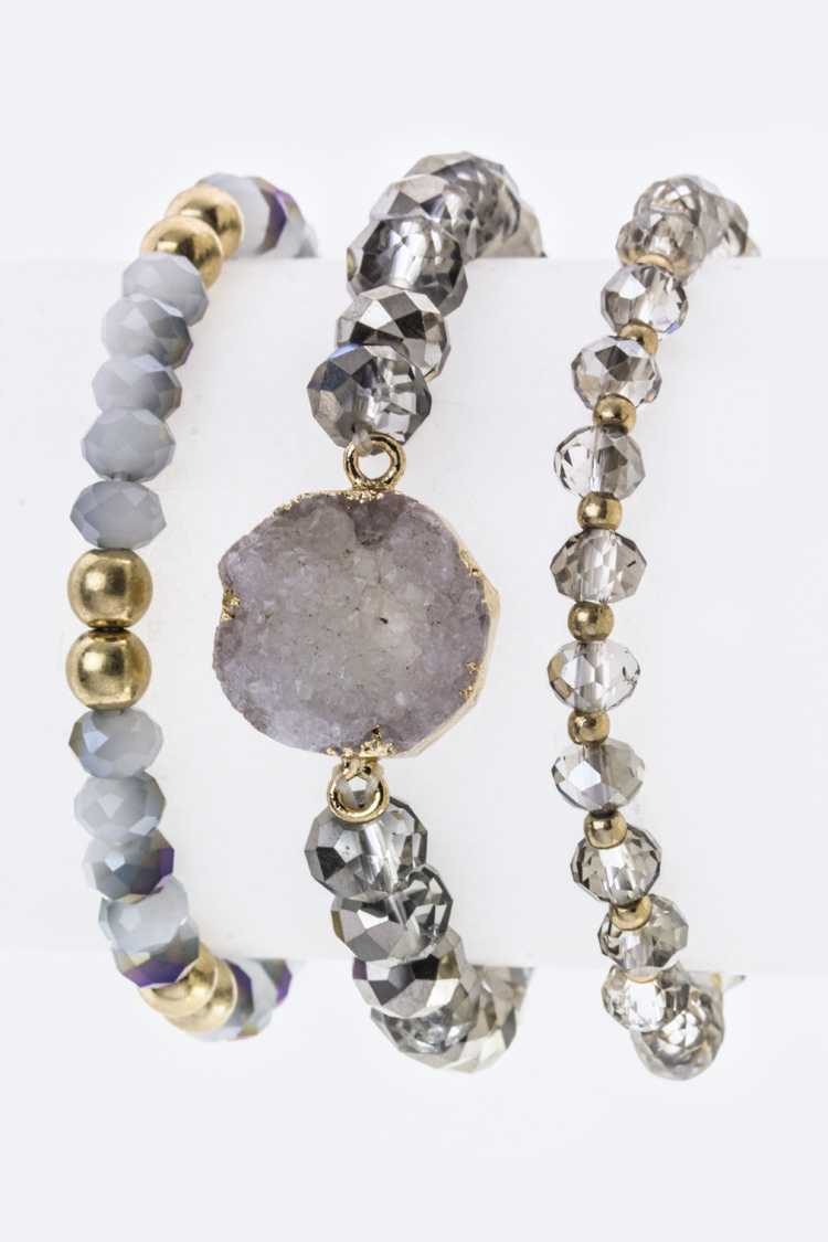 Druzy & Bead Stretch Bracelets Set