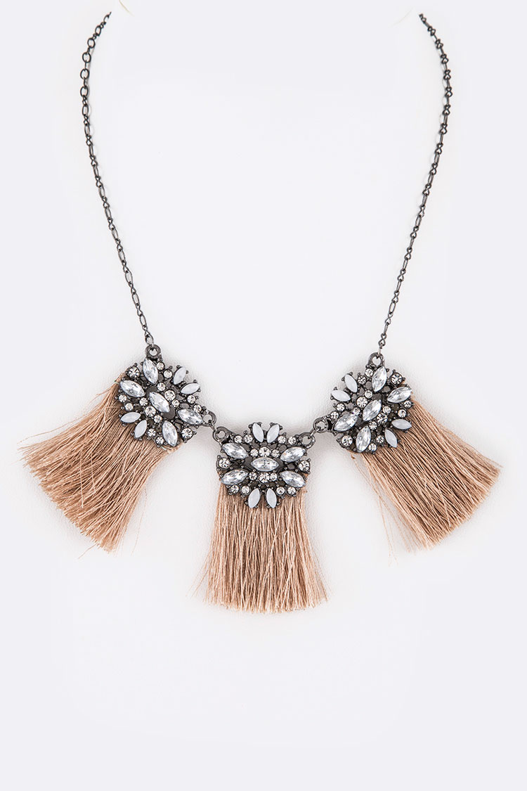 Crystal Tassel Iconic Necklace