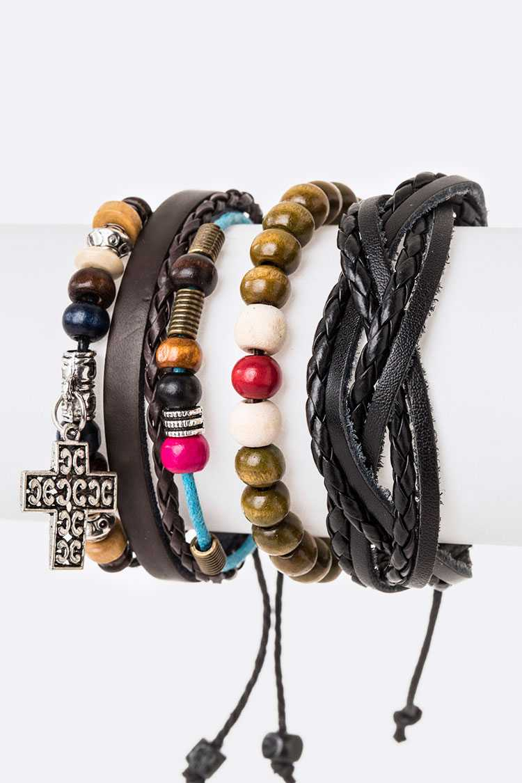 Cross Charm Mix Beads Leather Bracelet Set