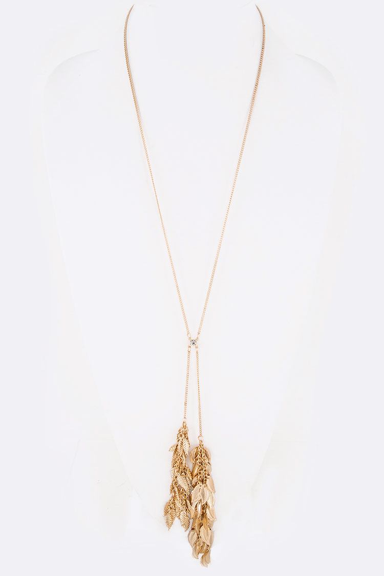 Fringe Leaf Filigree Tassel Long Pendant Necklace