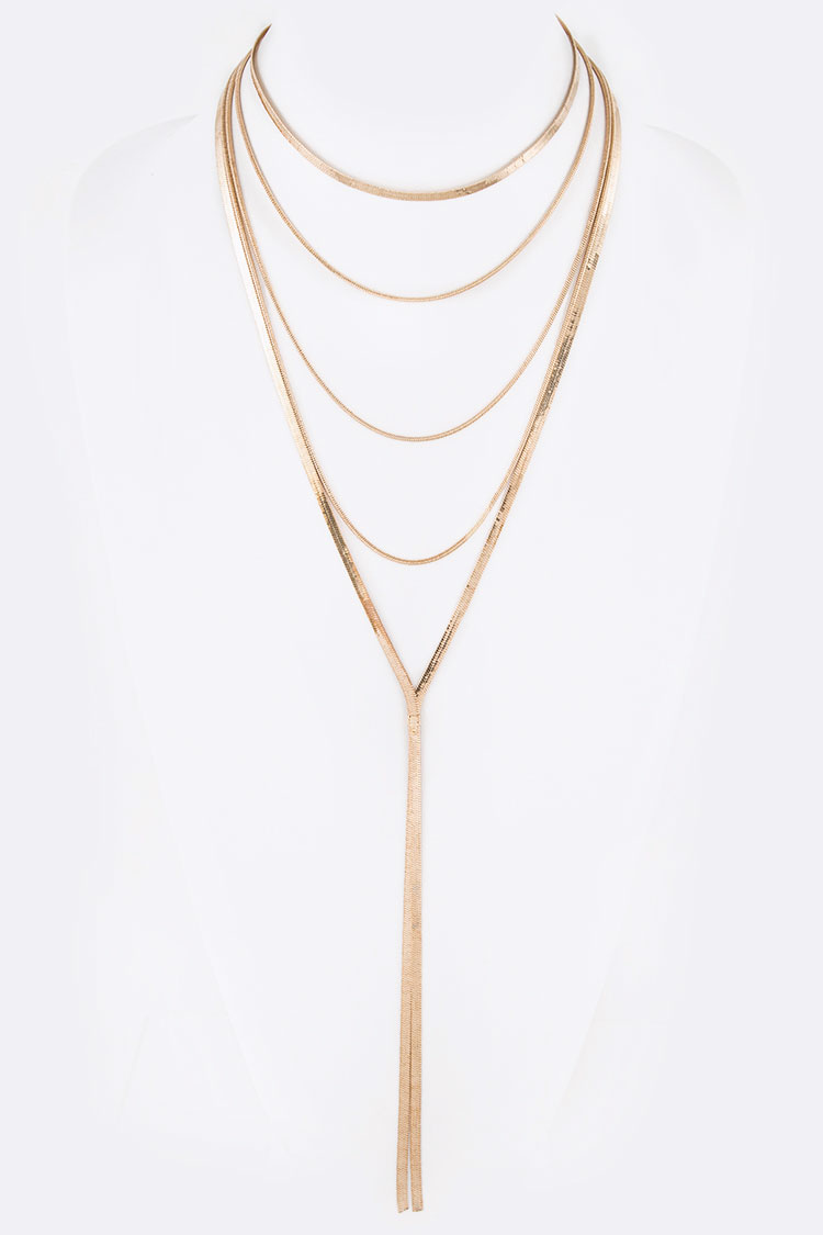 Layered Snake Chain Iconic Long Necklace