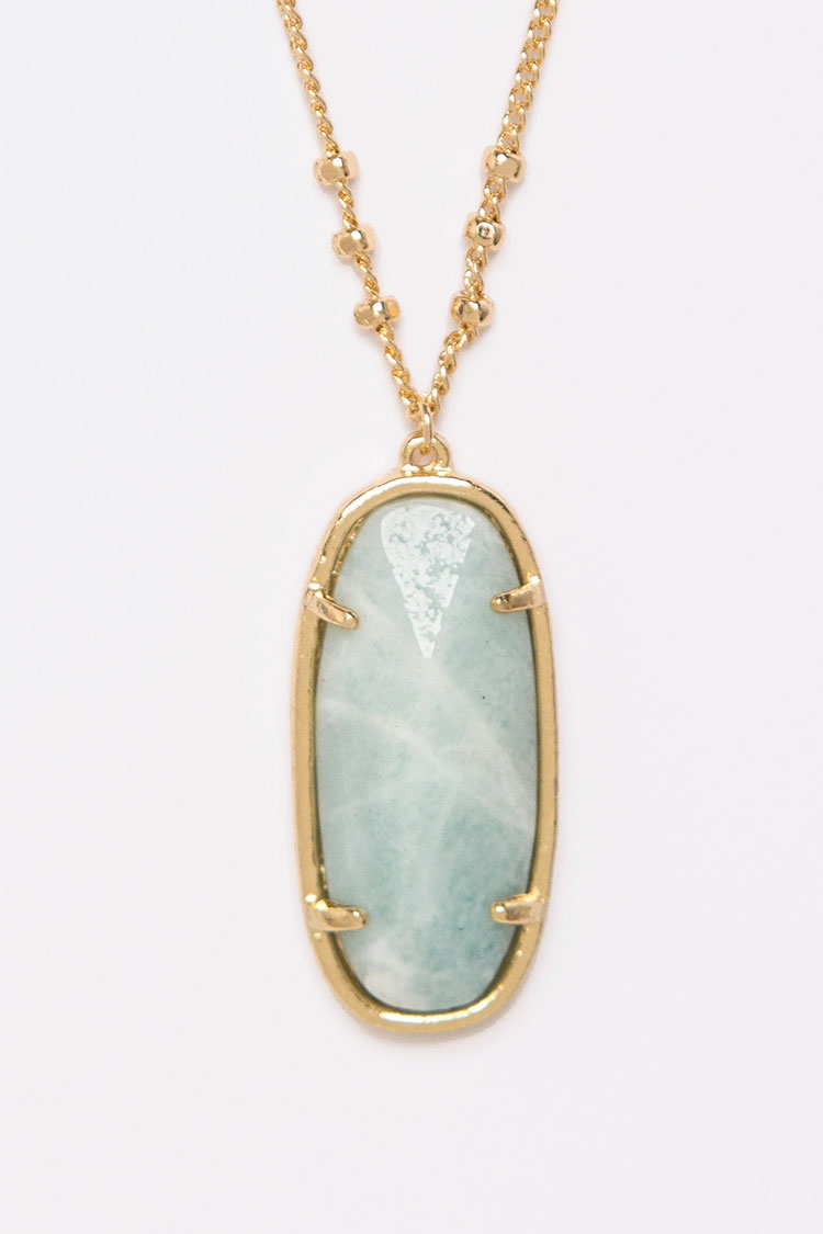 Semi Precious Stone Pendant Long Necklace