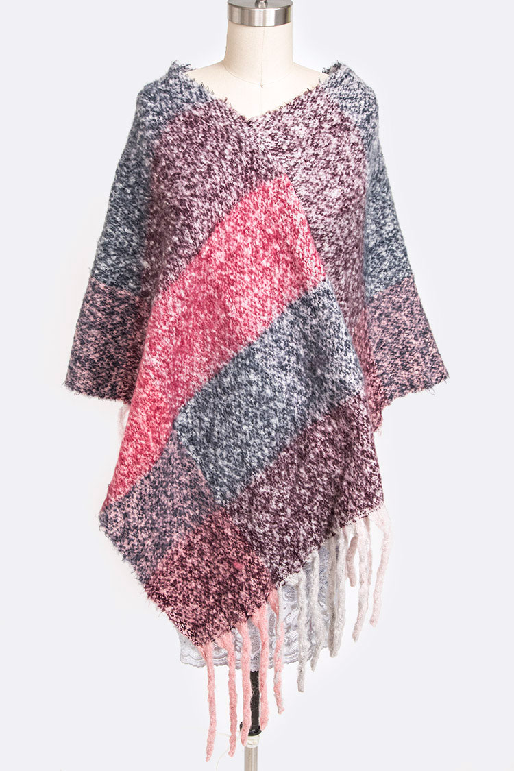 Color Block Fringe Poncho