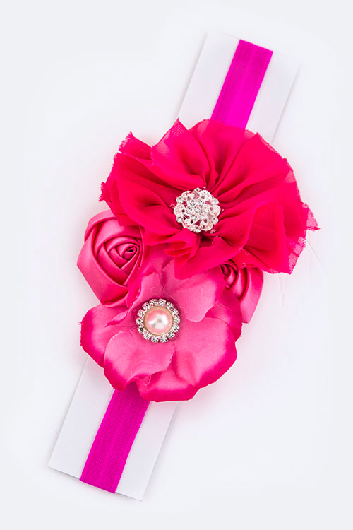Crystal & Pearl Flowers Kids Size Stretch Headband