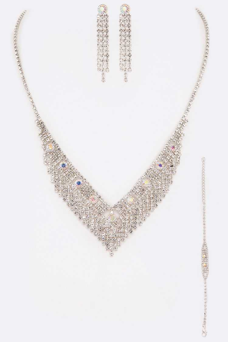 3PC Rhinestone Necklace Earrings Bracelet Set