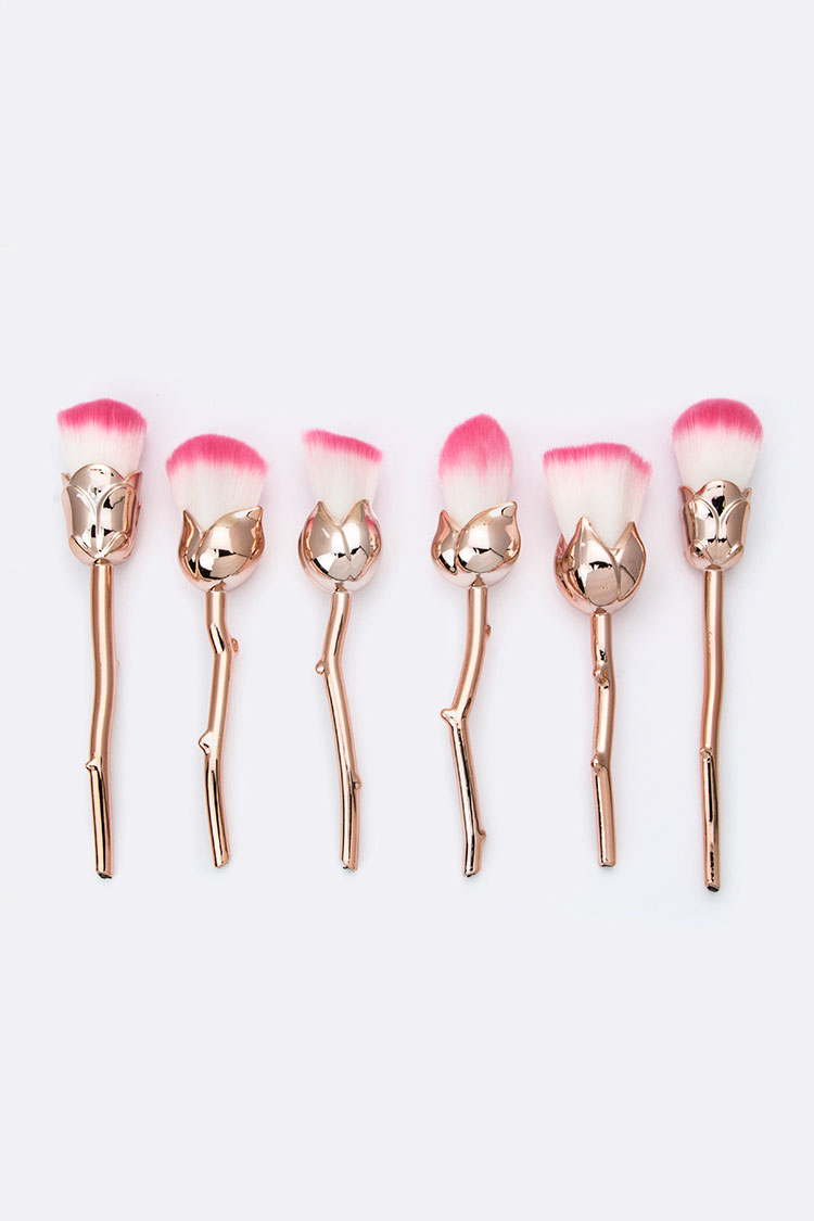 Super Soft Assorted Rose Design Cosmetic Brushes Set