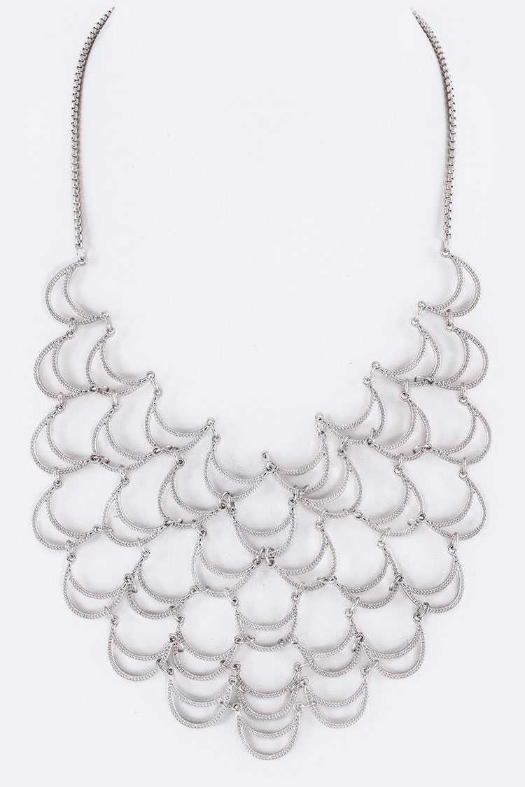 Linked Crescents Layer Bib Necklace