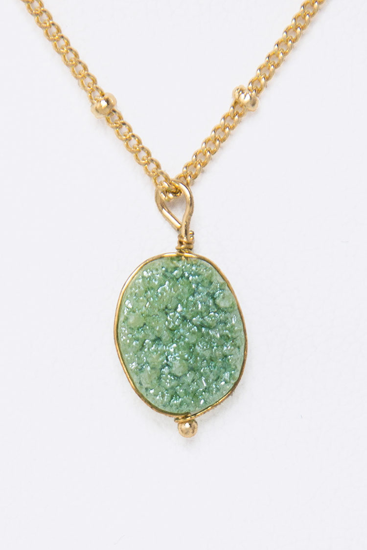 Genuine Druzy Petite Pendant Necklace