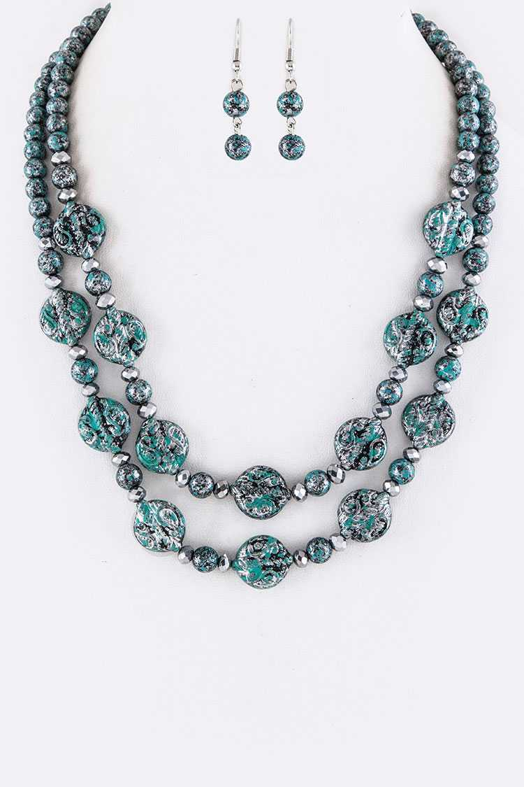Metal Beads & Textured Disks Layer Necklace Set