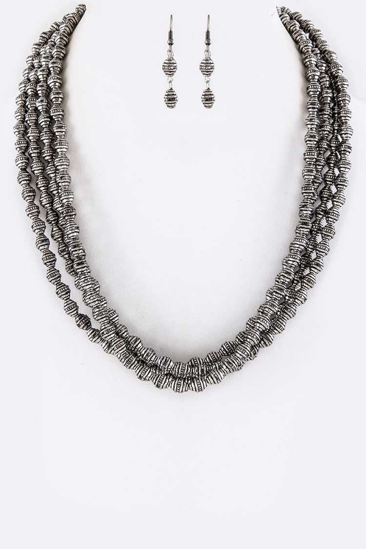 Metal Beads Layer Necklace