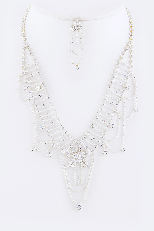 Crystal Star Statement Necklace Set