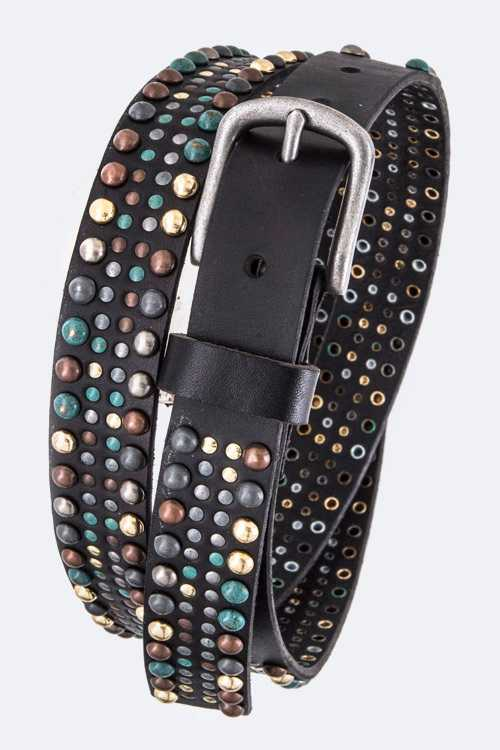 Mix Studs Vintage Distress Leather Belt