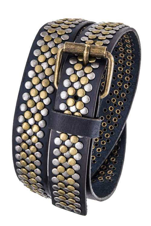 Mix Tone Studs Distress Leather Belt
