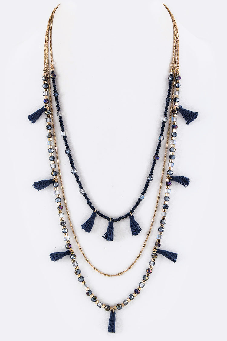 Mix Beads & Tassels Layer Necklace