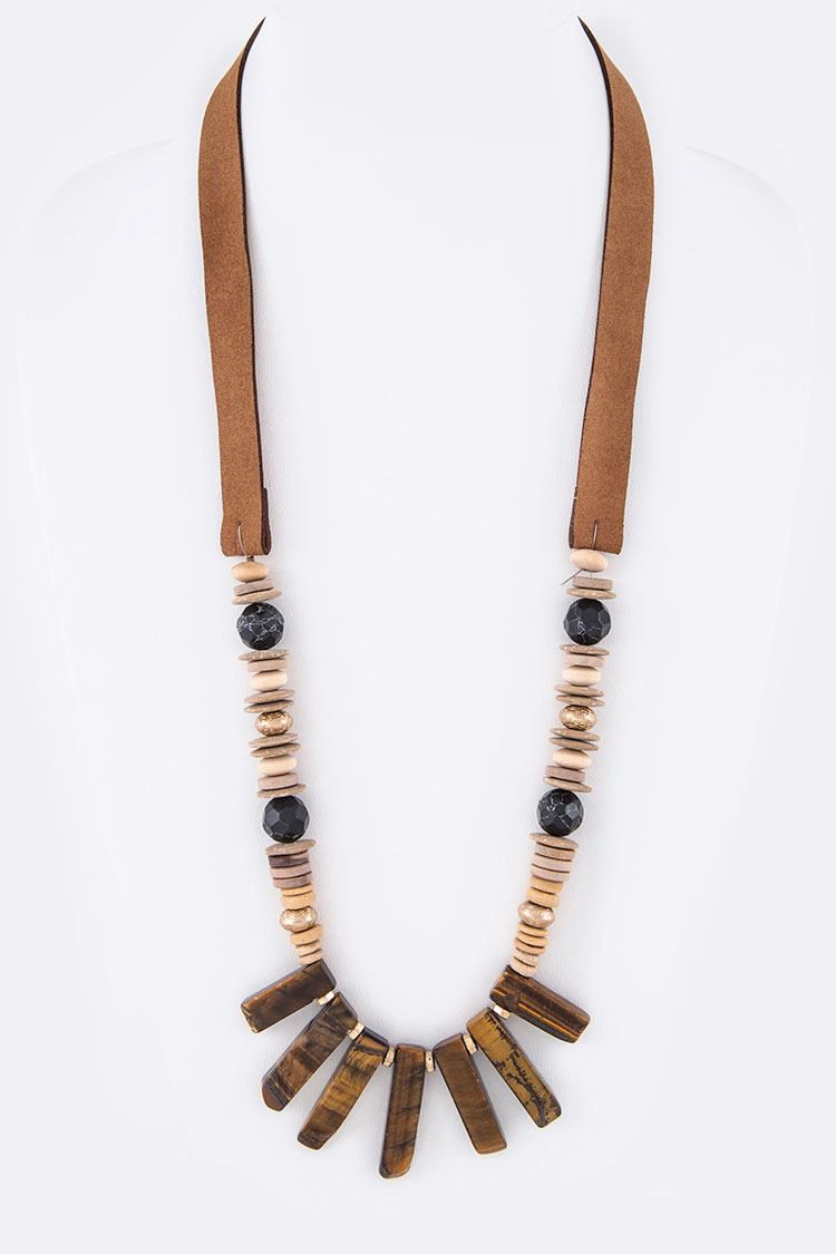 Genuine Stone Iconic Leather Necklace