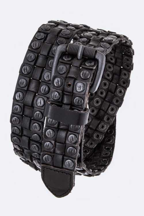 Hammered Studded Weaved Iconic Distress Leather Belt