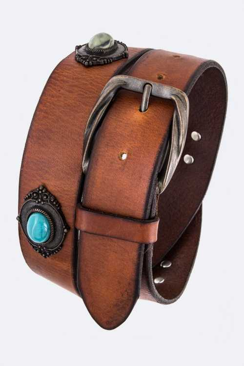 Bejeweled Vintage Leather Fashion Belt
