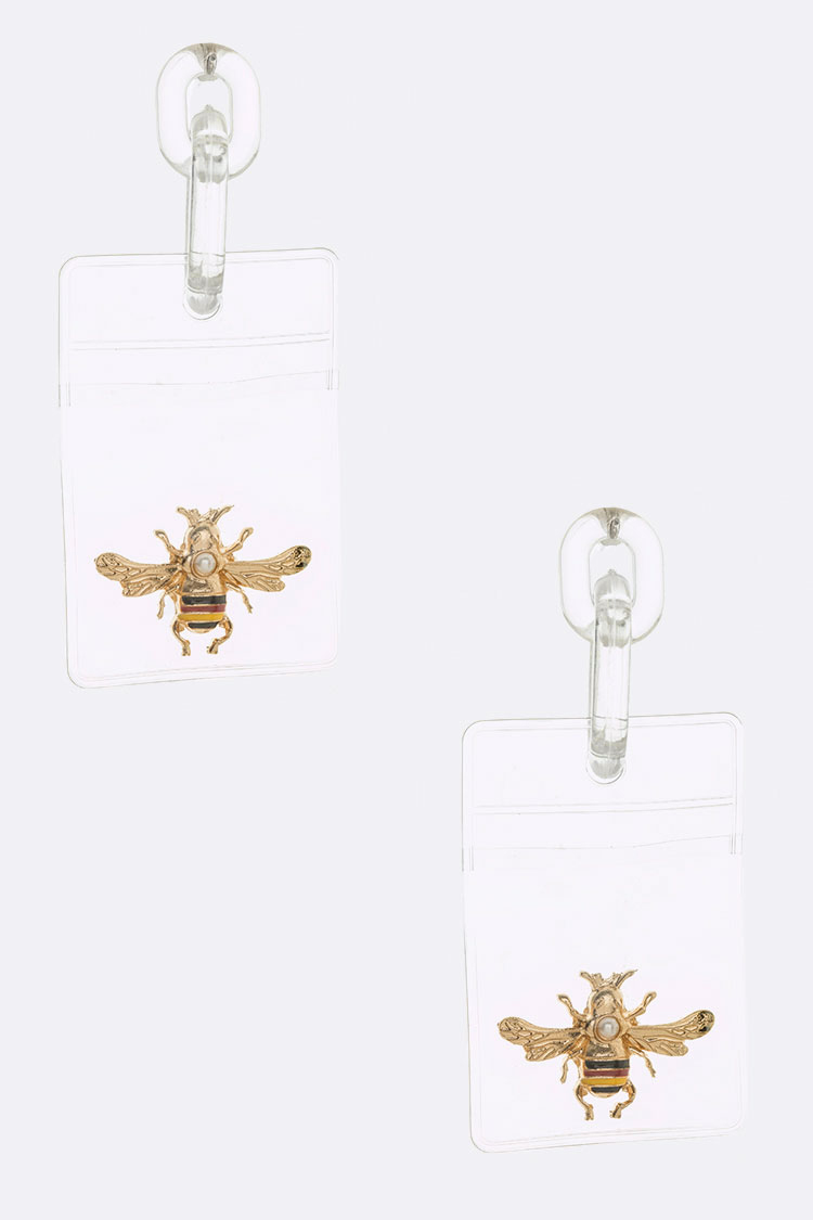 Iconic Bee Cleared Pocket Acrylic Earrings