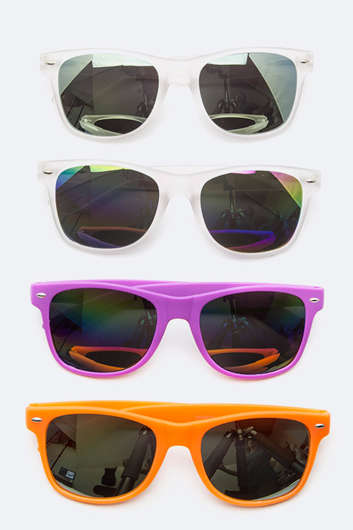 Mirror Tinted Pop Color Wayfarer Sunglasses