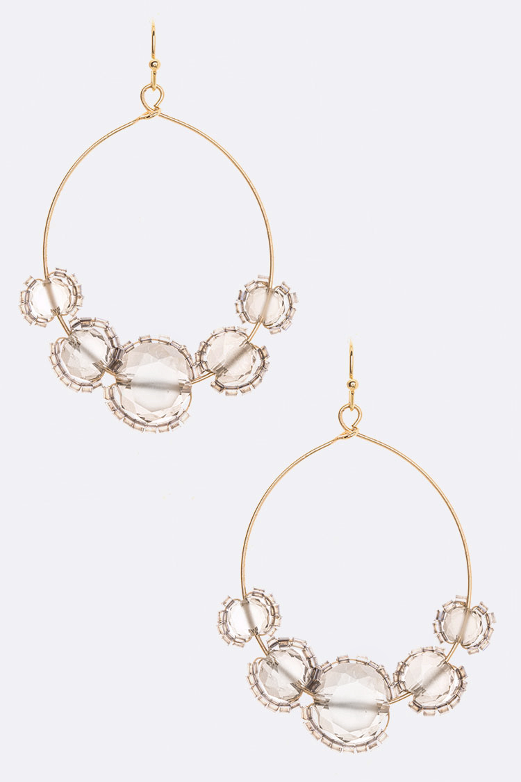 Crystal Sliding Hoop Drop Earrings