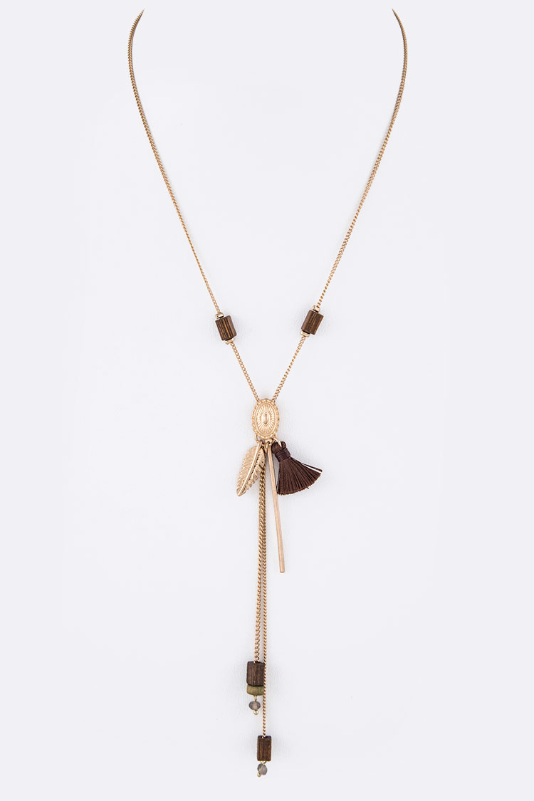 Mix Charm Chain Drop Tassel Necklace
