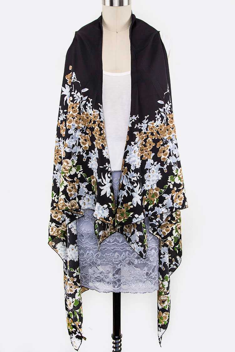 Flower Print Sleeveless Cardigans