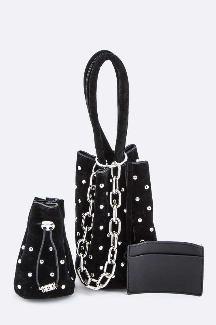 Studded Bucket Clutch with Drawstring Pouch Set
