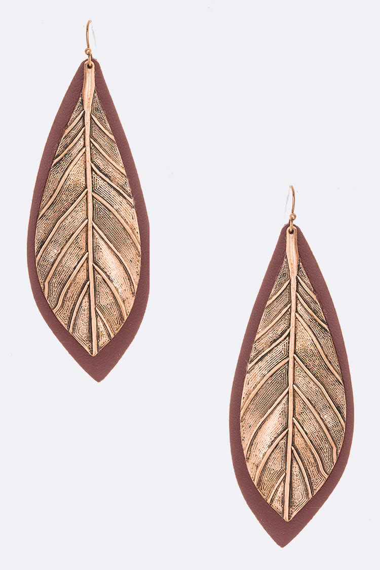 Hand Painted Leather Leaf Drop Earrings
