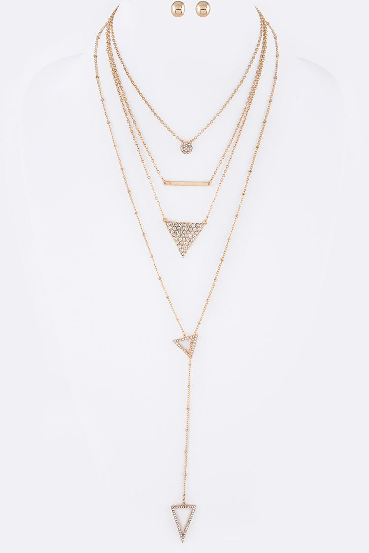 Crystal Triangle Drop Mix Layer Necklace Set