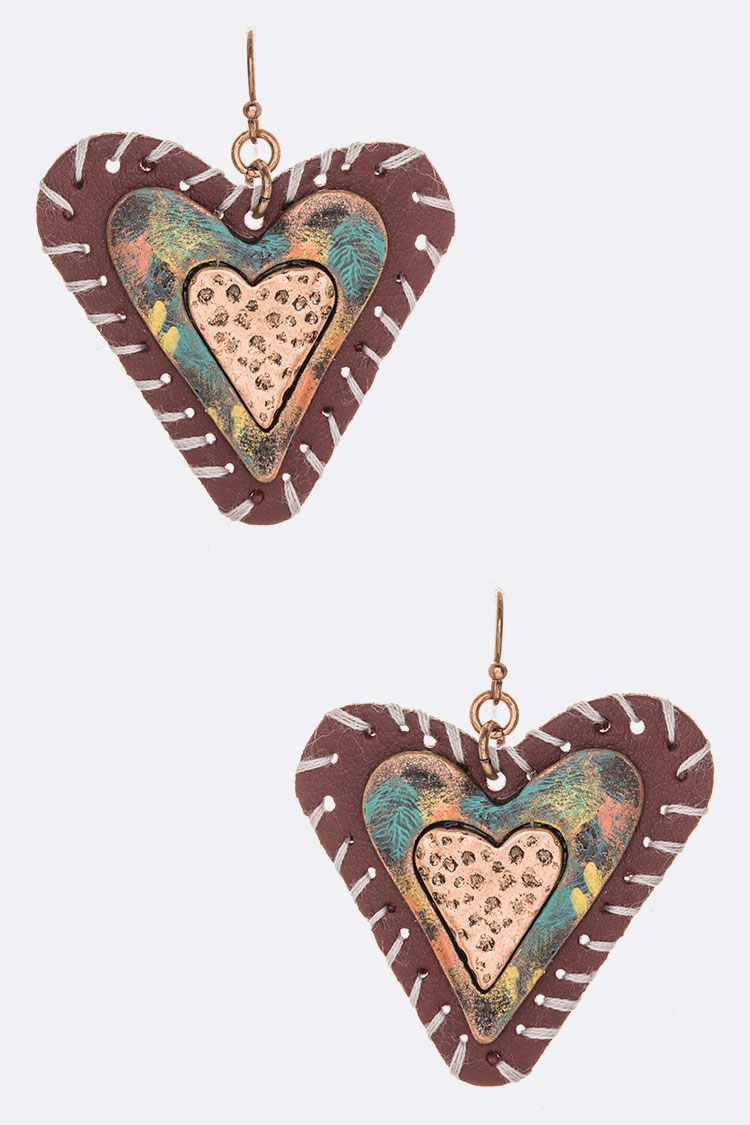 Whip Stitching Hand Painted Heart Earrings